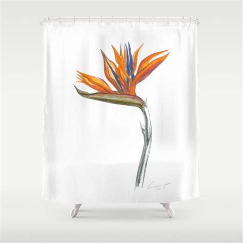 bird of paradise shower curtain bird of paradise 01 botanical flower shower curtain by
