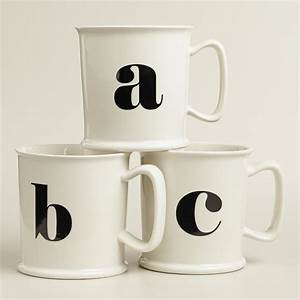 monogram porcelain mug collection world market With monogram letter mug