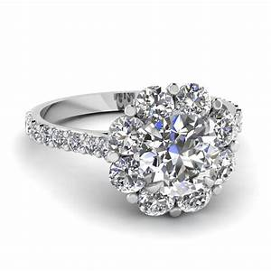 Flower halo diamond engagement ring in 14k white gold for White diamond wedding ring