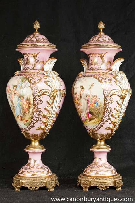 pair german dresden porcelain pink angel vases urns