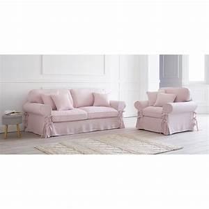 Sofa 4 Sitzer : ausziehbares 3 4 sitzer sofa bezug aus rosafarbenem leinen 6 cm polster butterfly maisons du ~ Eleganceandgraceweddings.com Haus und Dekorationen