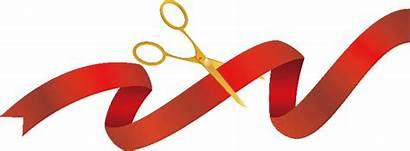 Ribbon Cutting Transparent Ceremony Gold Scissors Background