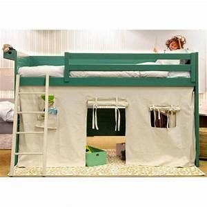 Lit Mezzanine Enfant : rideau pour fabriquer un lit forme tipi loft asoral ~ Teatrodelosmanantiales.com Idées de Décoration