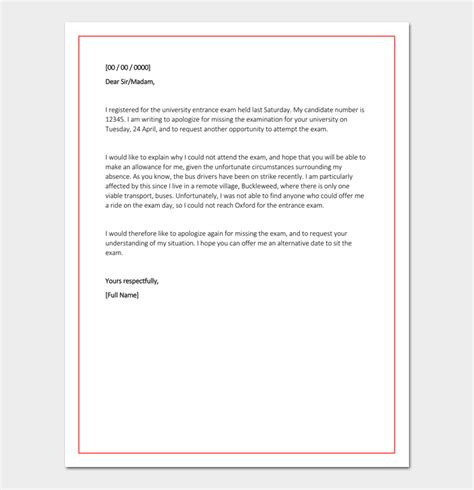 absent letter  school principal    write