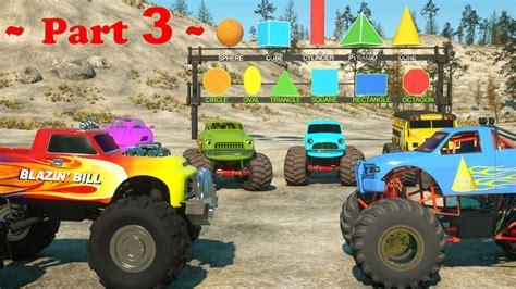monster trucks you tube videos learn shapes and race monster trucks toys part 3