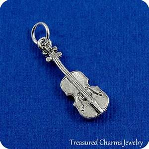 Violin Charm Silver Violin Fiddle Charm for Necklace or