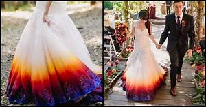 young bride dip dyes her wedding gown to add an elegant With where can i get my wedding dress dyed