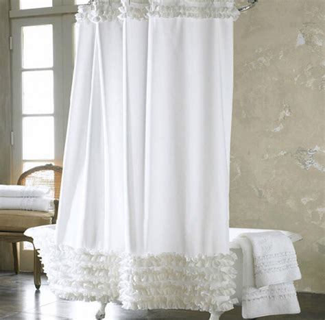 luxury white bathroom liner ruffled fabric shower curtain