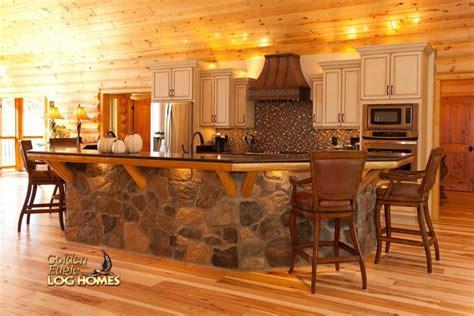 log home kitchen islands log home by golden eagle log homes island kitchen 7156