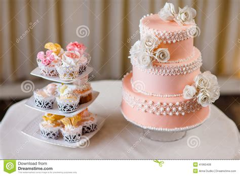 cupcakes with individual wedding decoration with wedding cake stock photo image 41960408