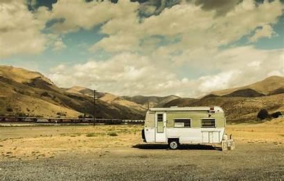 Caravan Travel Trailer Desert Railroad Sky Shadows