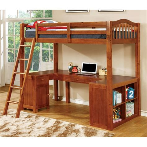 furniture of america franklyn loft bed with desk in