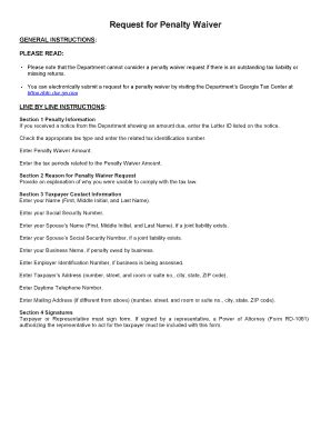 Letter of waiver of penalty sample. Penalty Waiver Request - Fill Online, Printable, Fillable ...