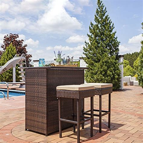 3 wicker patio bar set sunnydaze melindi 3 wicker rattan outdoor patio bar