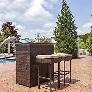 Rattan Bar Set : sunnydaze melindi 3 piece wicker rattan outdoor patio bar set with tan cushions home patio ~ Indierocktalk.com Haus und Dekorationen