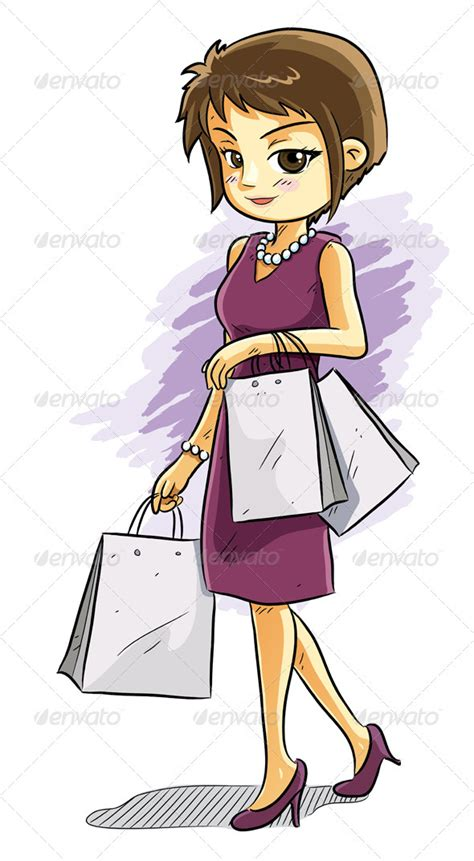 Cartoon People Shopping Image Group (69+)