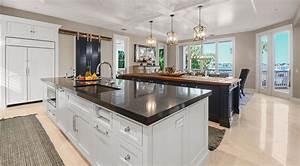 White Kitchen With Rustic Dark Blue Island