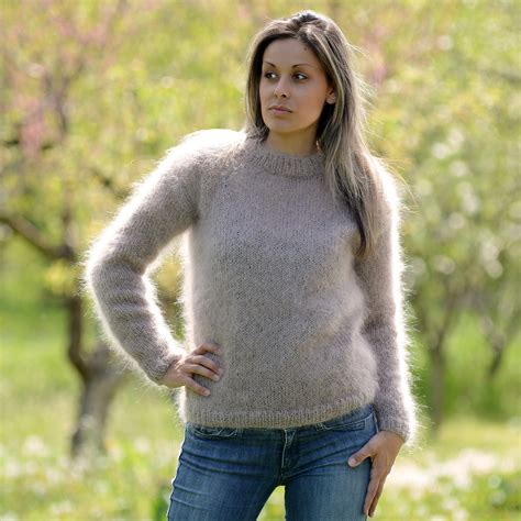 mohair sweater light beige knitted crew neck mohair sweater by