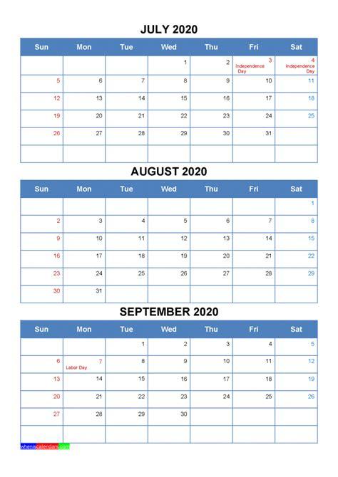 printable july august september  calendar