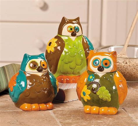 owl kitchen accessories owl canisters jars kitchen decor set of 3 new ebay 1355