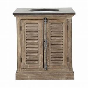 meuble vasque en bois recycle et marbre l 80 cm persiennes With meuble salle de bain dessus marbre
