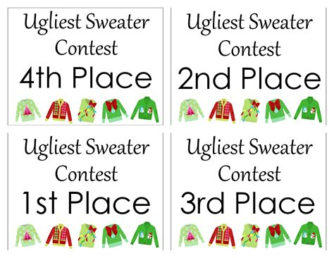printable ugly sweater certificate no download sweater free printables the country chic cottage