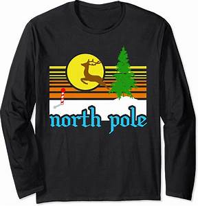 Vintage, Style, North, Pole, With, Reindeer, Christmas, Souvenir, Long, Sleeve, T