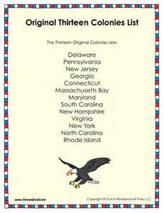 original thirteen colonies list tim 39 s printables