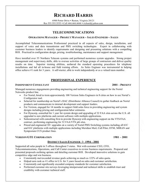 Telecom Sales Engineer Resume by Telecommunications Resume