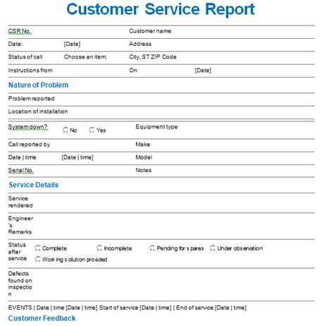 customer service report templates writing word excel
