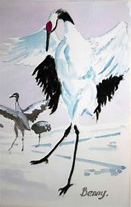 Red Crowned Cranes-watercolor | Watercolors and Red