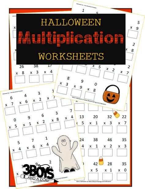 halloween printables multiplication worksheets 3 boys