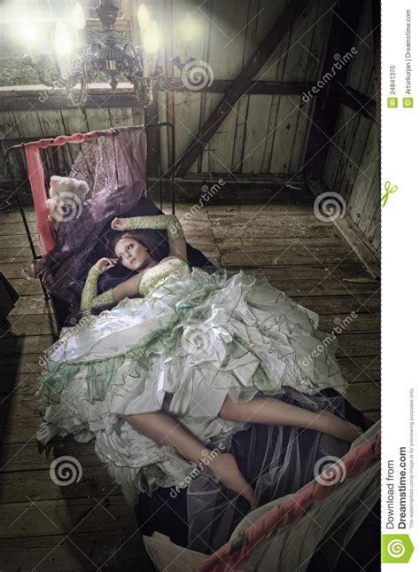 beauty women  dress lying   bed stock photo image