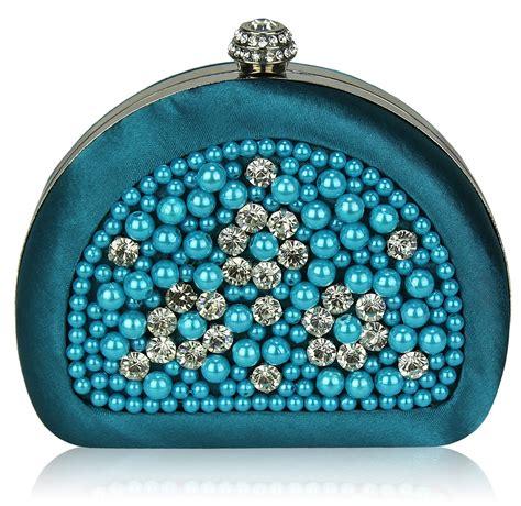 wholesale teal beaded pearl rhinestone clutch bag