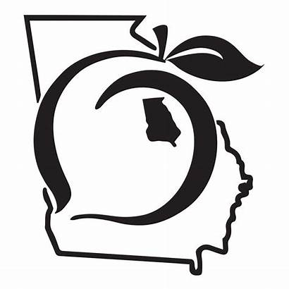 Peach Georgia State Decal Pride Tattoo Sticker
