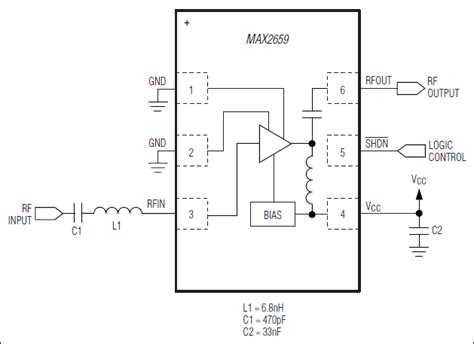 Typical Functional Diagram by Max2659 Gps Gnss Low Noise Lifier Maxim