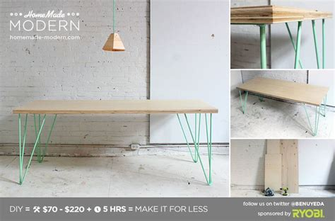 diy desk with hairpin legs homemade modern diy the easy hairpin leg table or with