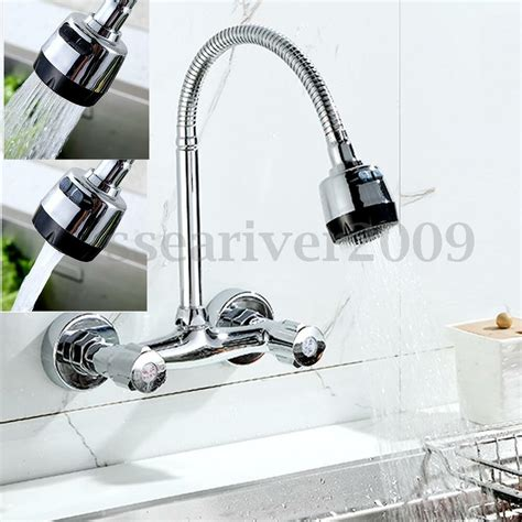 Wall Mount Kitchen Faucet With Pull Out Spray by 360 176 Pipe Swivel Wall Mount Chrome Pull Kitchen Sink