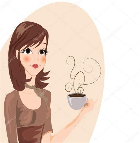 Girl drinking Coffee Vector Stock Vector © lindwa #5649860