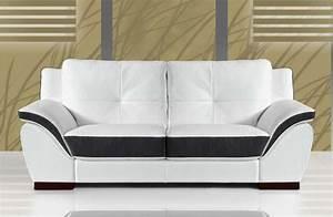 Canapé Cuir Blanc 2 Places : canape 2 places cuir blanc et noir sofamobili ~ Teatrodelosmanantiales.com Idées de Décoration