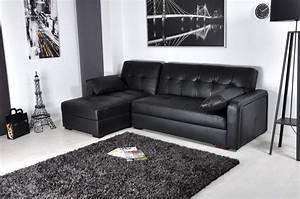 Canape Convertible Noir : photos canap d 39 angle convertible cuir noir ~ Teatrodelosmanantiales.com Idées de Décoration