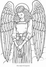 Adult Coloring Pages Colouring Angels Angel Adults Printable Fairies Books Dover Gothic Wings Warrior Publications Detailed sketch template