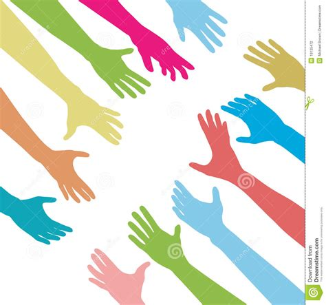 People Hands Reach Out Across Unite Connect Stock Vector ...