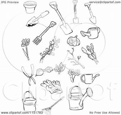 Tools Garden Illustration Clipart Royalty Outlined Lineartestpilot