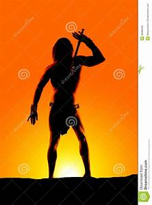 Silhouette Man Loin Cloth Hand Up Stock Photography