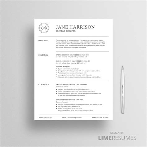 Cover Page Template For Resume by Professional Resume Template 2 Page Cv Limeresumes