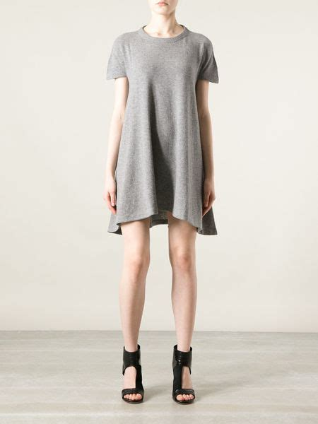 balenciaga loose fit  shirt dress  gray grey lyst