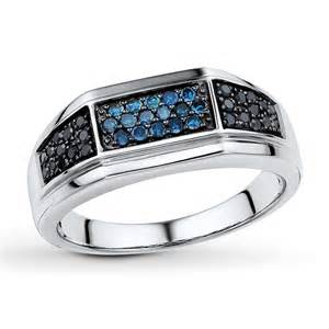neil wedding bands jared men 39 s diamond ring 3 8 ct tw blue black sterling