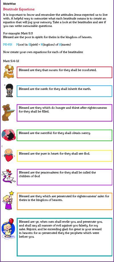 activity to help children memorize the beatitudes 281   beatitudes equations thumb
