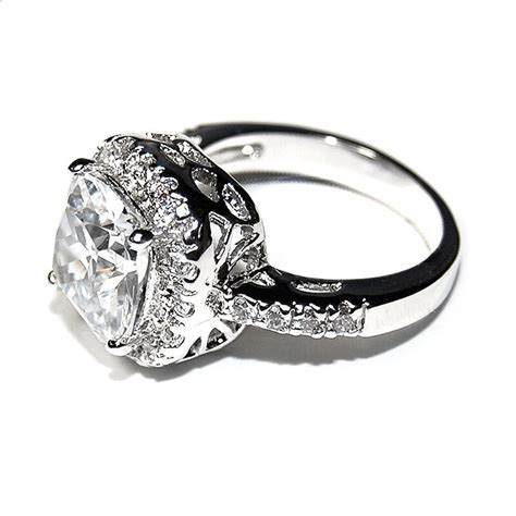 pave 6ct cushion cut basket 5a cubic zirconia halo engagement ring rhodium ebay